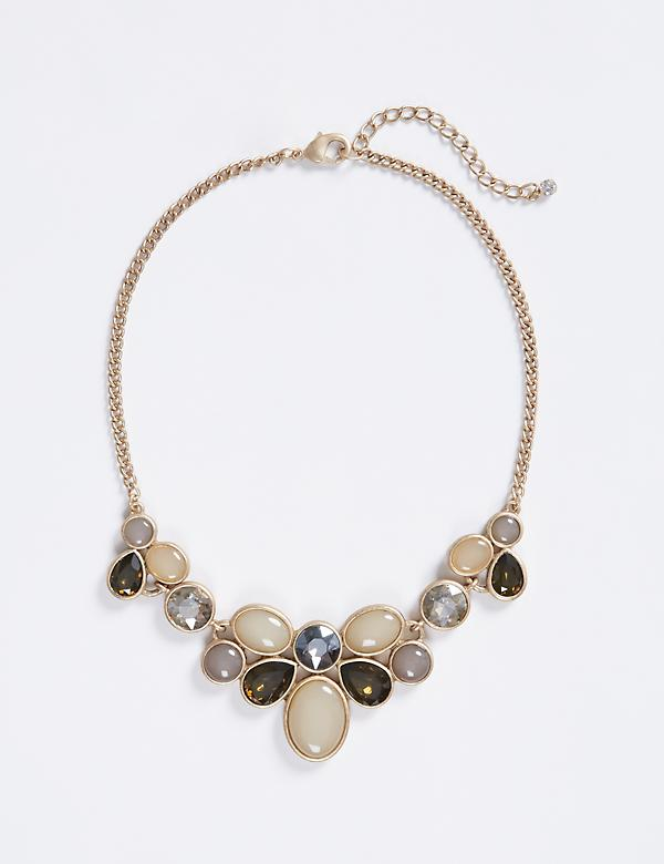 Short Tonal Stone Statement Necklace