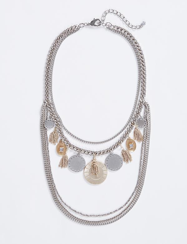 Short Multi-Layer Coin & Chain Necklace