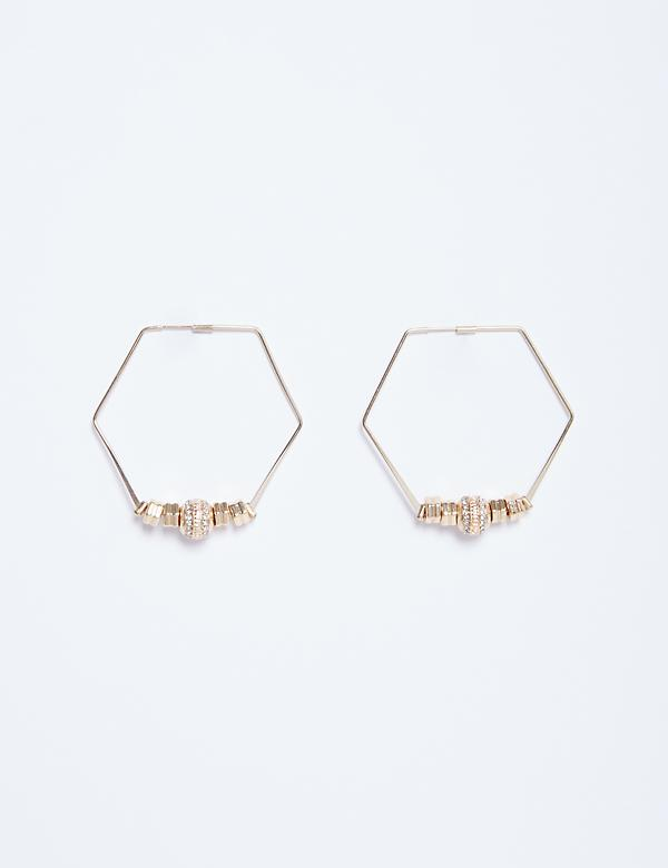 Hexagon Hoop Earrings with CZ