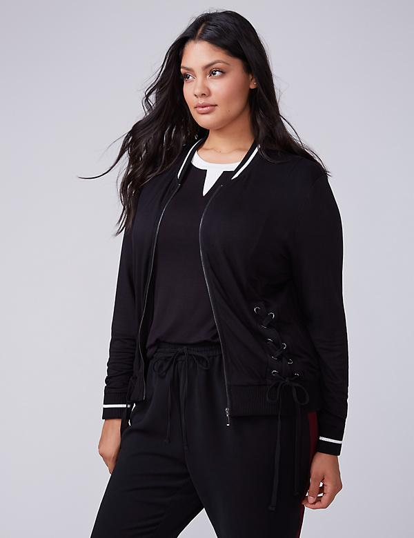 Fast Lane Knit Jacket with Lace Up Detail
