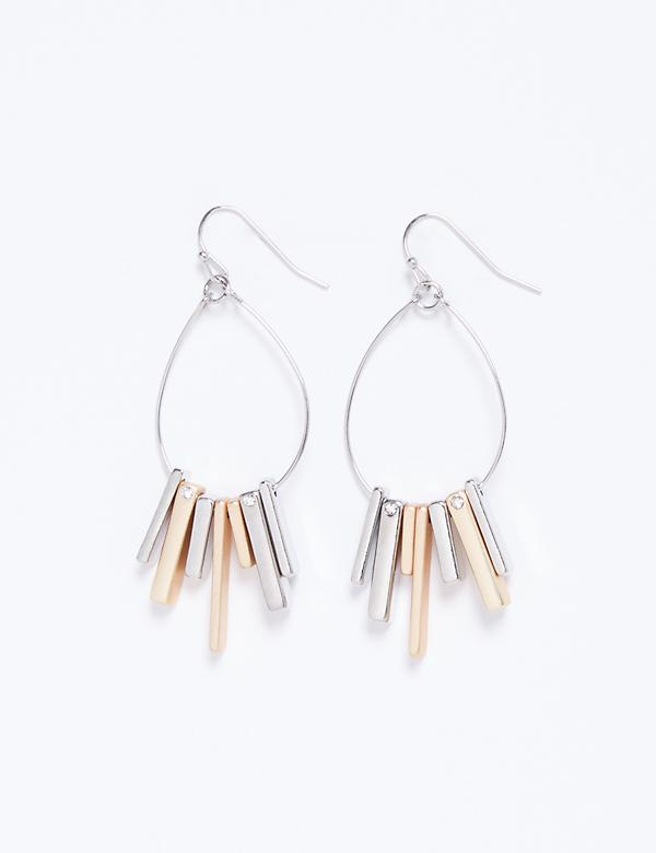 Oval Earrings with 2-Tone Sticks