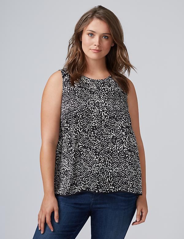 Printed Round-Neck Essential Shell