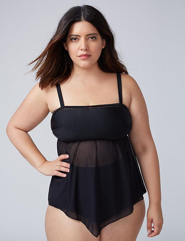 Sheer Handkerchief Swim Tankini Top with Built-In No-Wire Bra
