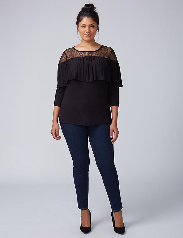 Lace Yoke 3/4-Sleeve Top