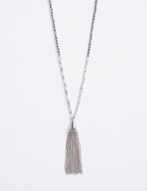 Long Tonal Beaded Necklace with Tassel