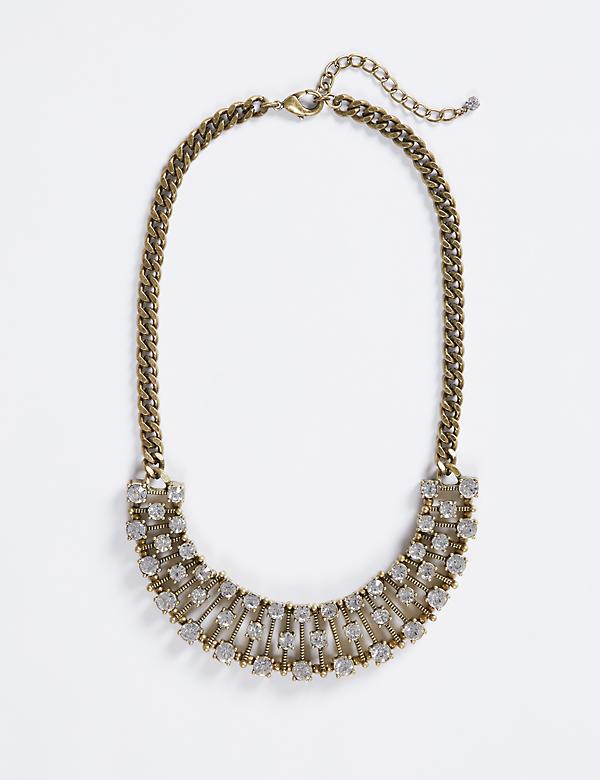 Short Stick Statement Necklace with CZ