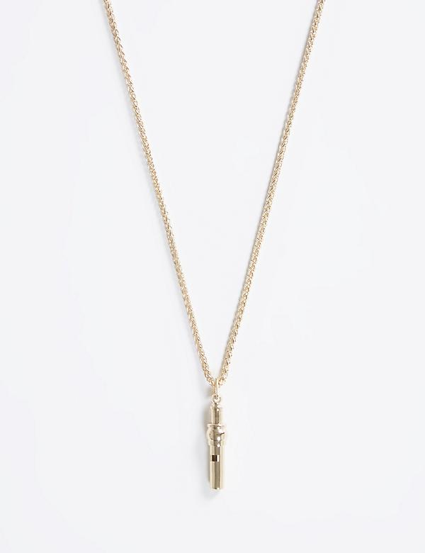 Long Necklace with Metal Whistle Pendant