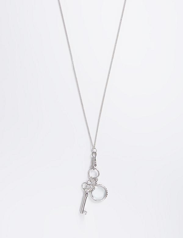 Long Necklace with Key & Clear Pendants
