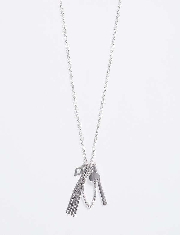 Long Necklace with CZ Cluster Pendant