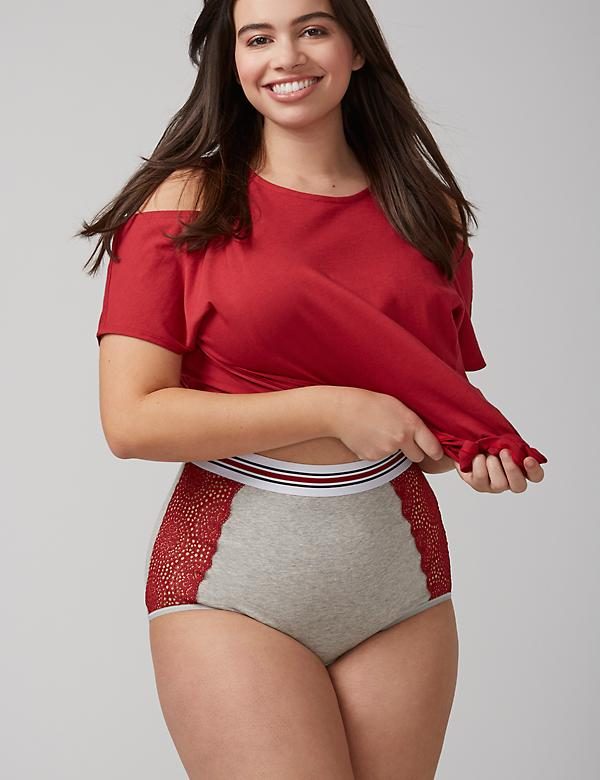 Cotton Mid Rise Brief Panty with Lace Trim