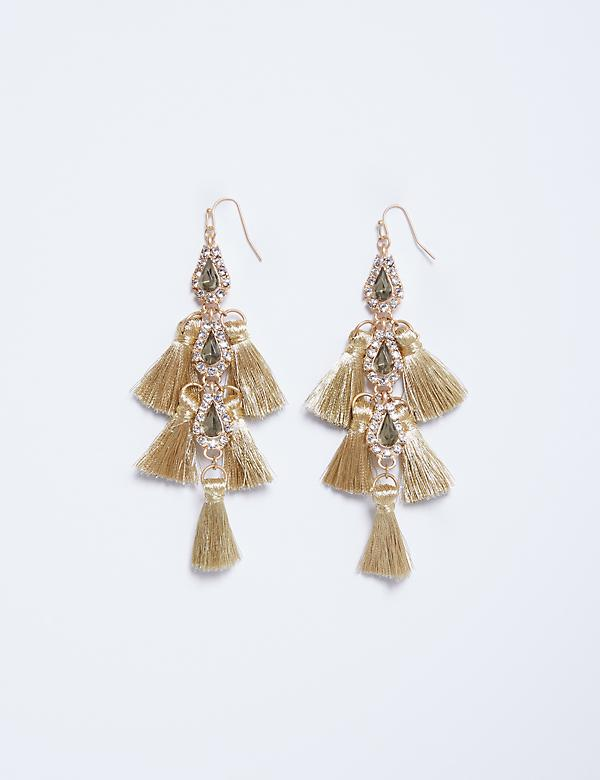 Statement Drop Earrings with Fringe & CZ