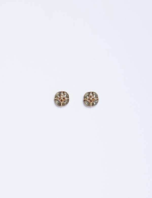 Round Stud Earrings with Green Stones
