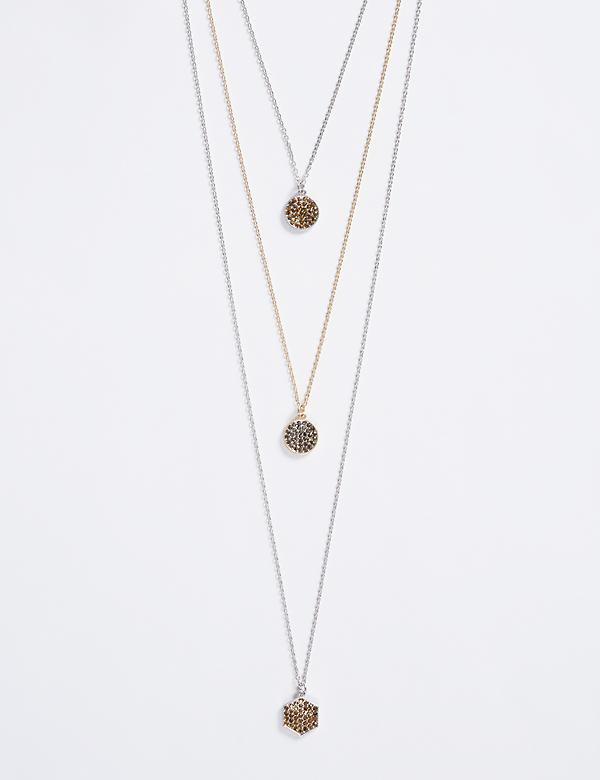 3-Row Necklace with Embellished Pendants
