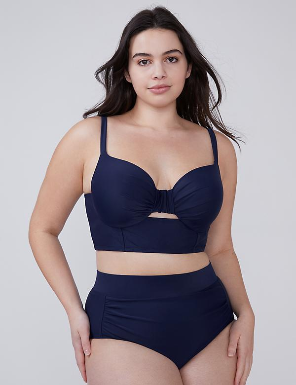 Longline Swim Bikini Top with Built-In Balconette Bra