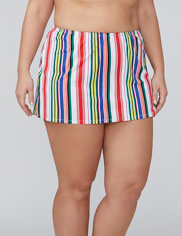 Multi-Stripe Side Slit Swim Skirt