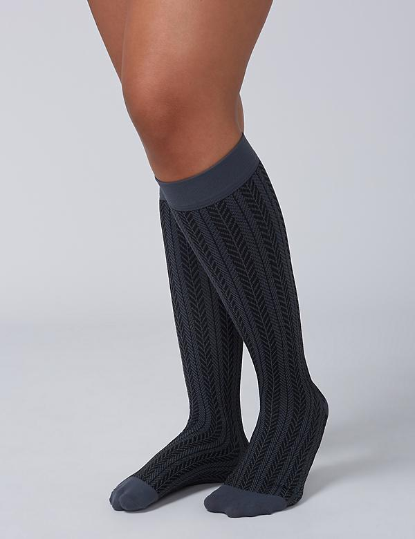 Herringbone Compression Knee-High Socks