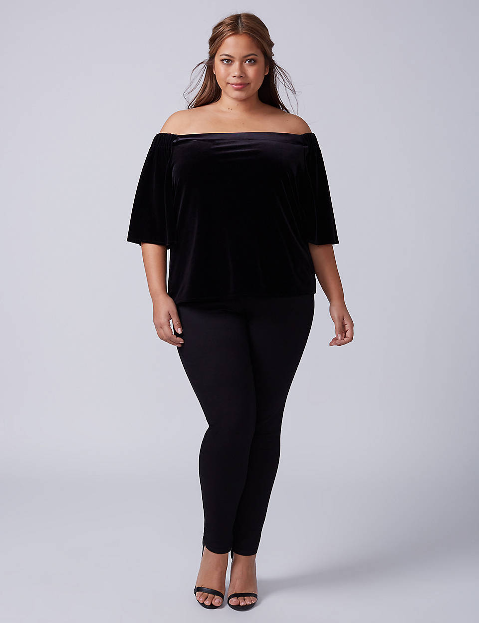 5329abee7691 Velvet Off-the-Shoulder Top | Lane Bryant