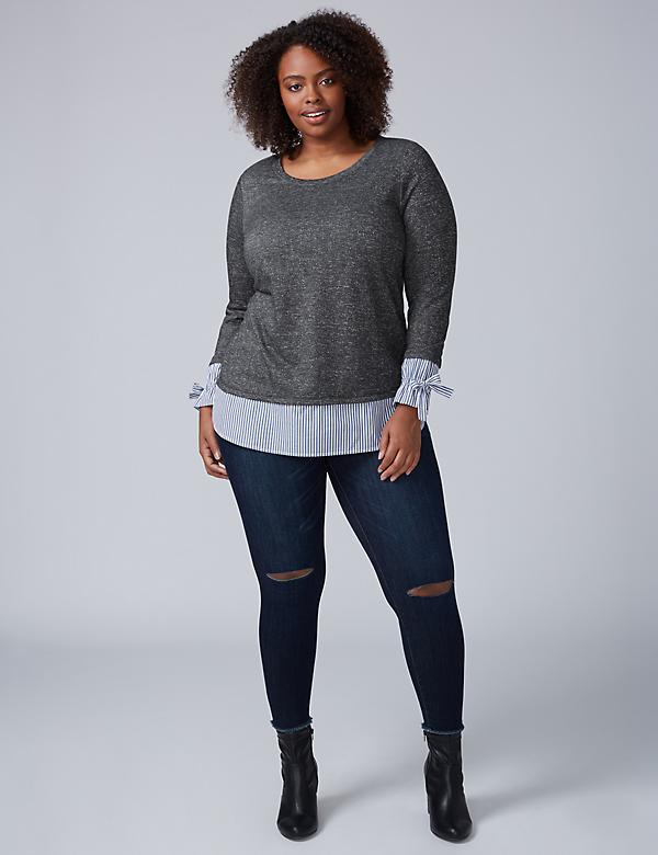 Mixed Fabric Crew-Neck Top