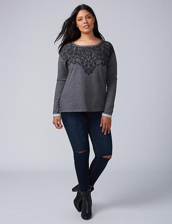 Printed Lace Sweatshirt