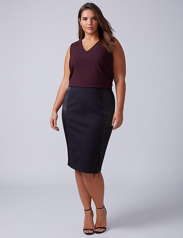 Lace-Up Ponte Pencil Skirt