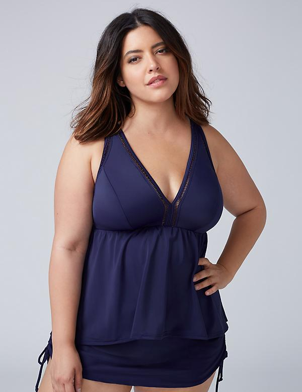 Swim Tankini Top with High-Low Hem & Built-In No-Wire Bra