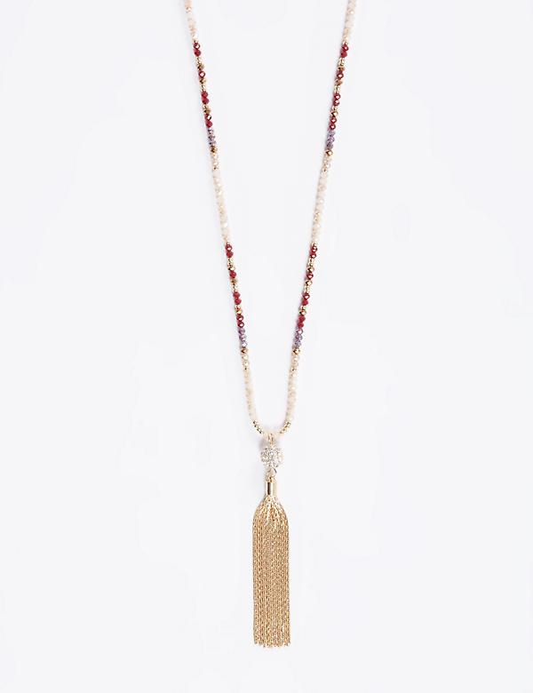 Long Beaded Necklace with Tassel Pendant