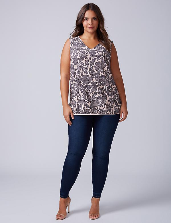 Printed V-Neck Essential Shell