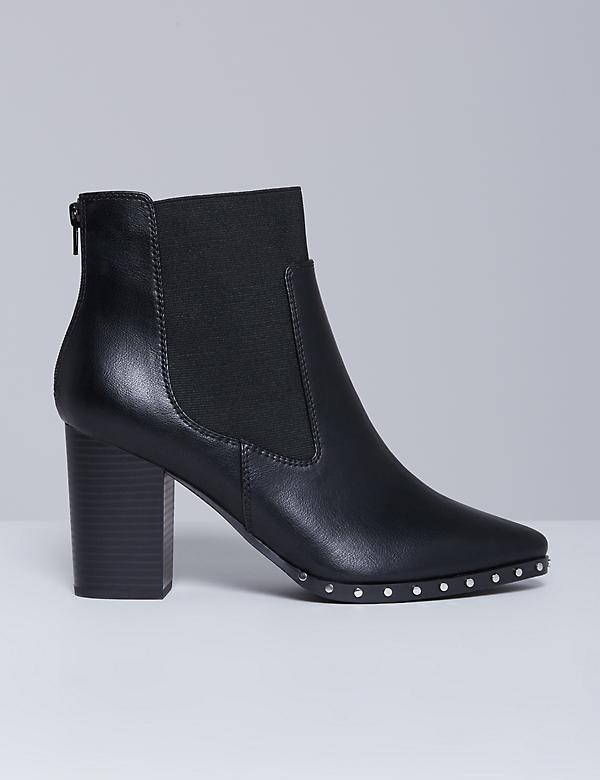 Studded Ankle Boot with Block Heel