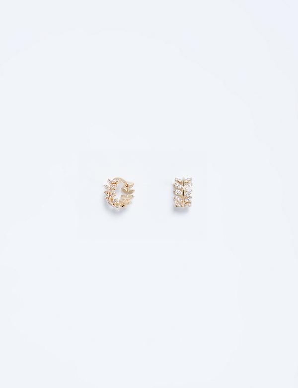 Leaf CZ Cuff Earrings