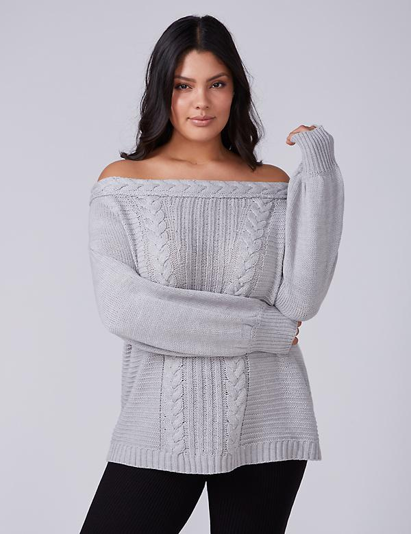 Fast Lane Off-the-Shoulder Cable Knit Tunic Sweater