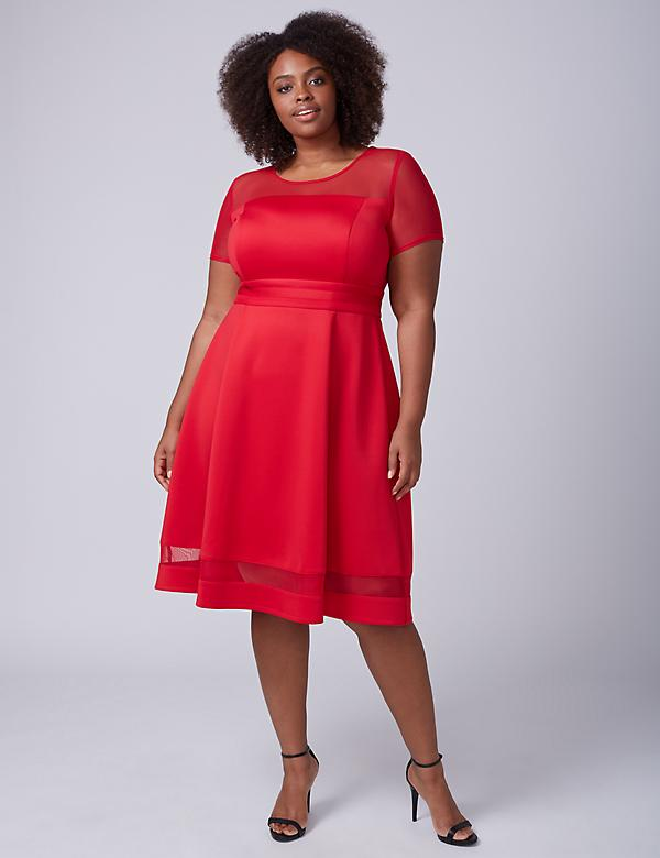 Mesh-Sleeve Scuba Fit & Flare Dress
