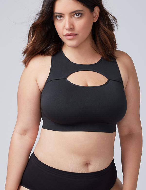 Keyhole High-Neck Seamless Bralette
