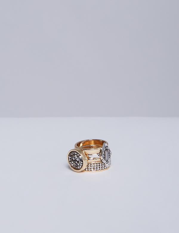 4-Stack Rock Glitter Ring Set