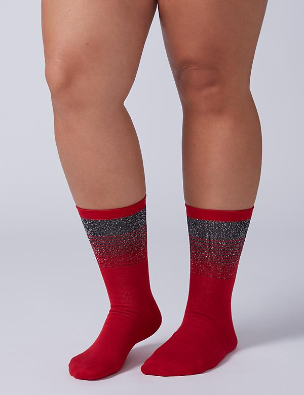 Metallic Striped & Polka Dot Crew Socks 2-Pack