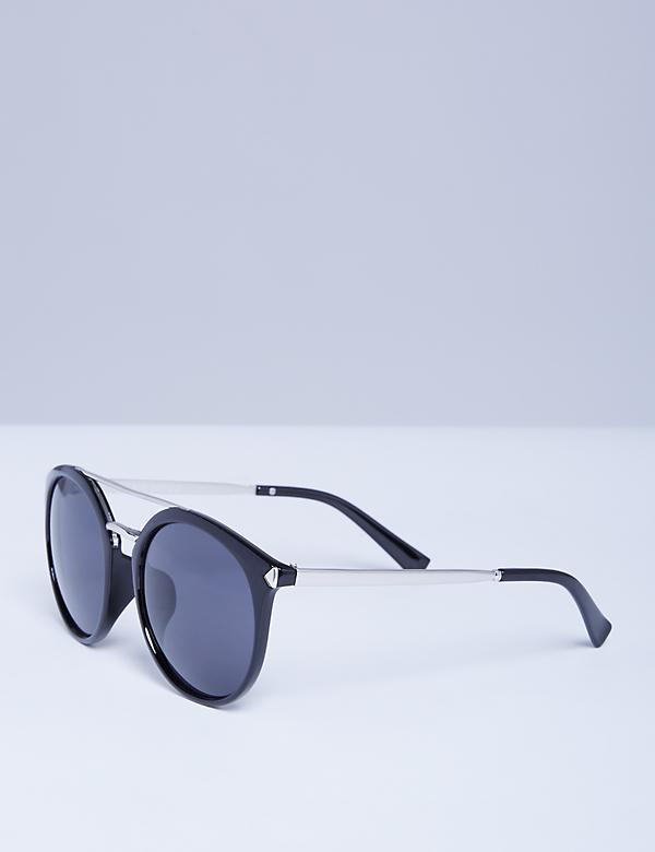 Black Sunglasses with Silver Tone Detail