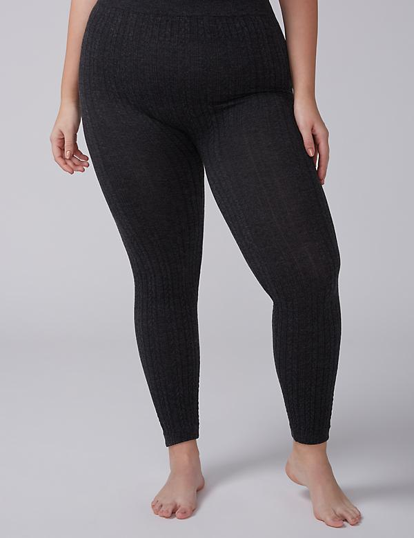 Heathered Cable Ribbed Legging