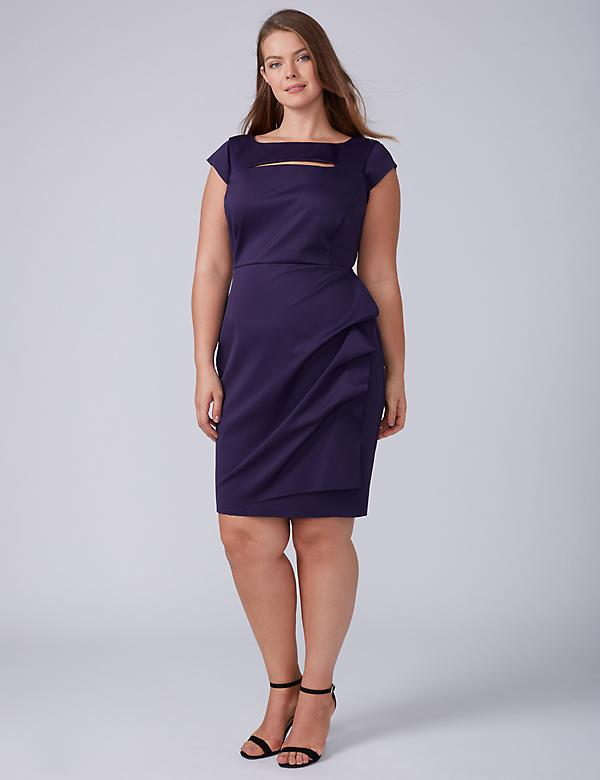 Ruched Sheath Dress with Cap Sleeves