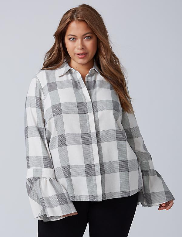 Plaid Bell-Sleeve Shirt