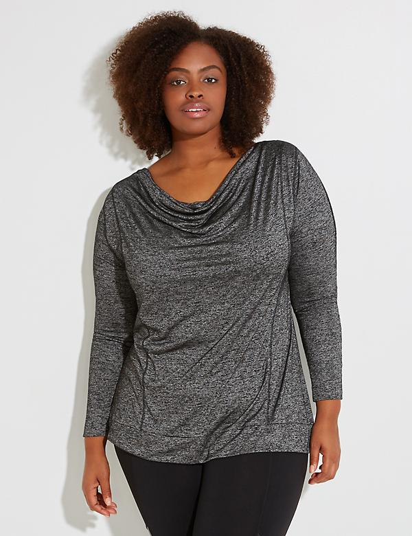 Drape-Neck Active Top with Sleeve Trim