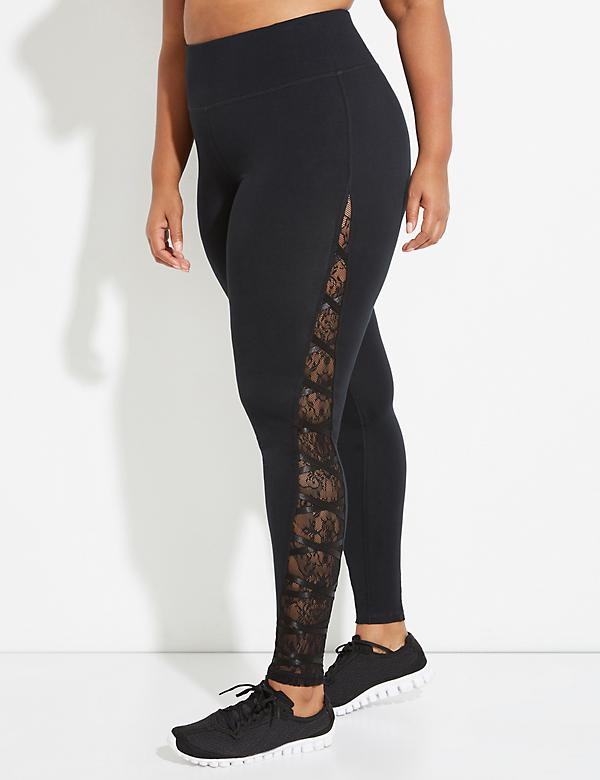 Signature Stretch Active Legging with Lace Mesh Inset