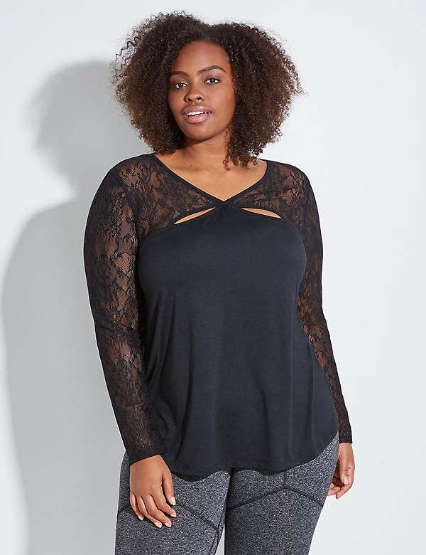 Active Top with Keyhole Lace Yoke