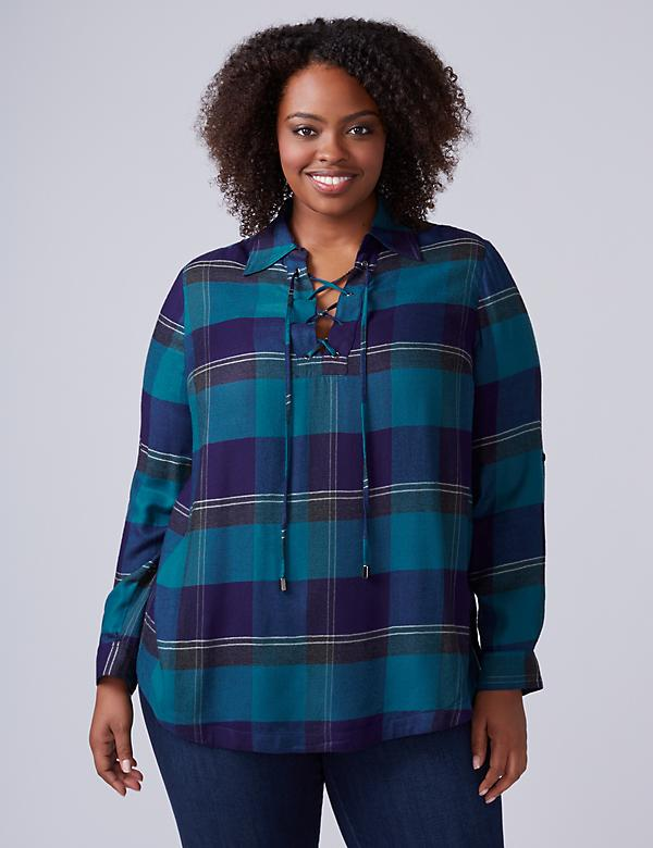 Plaid Lace-Up Tunic