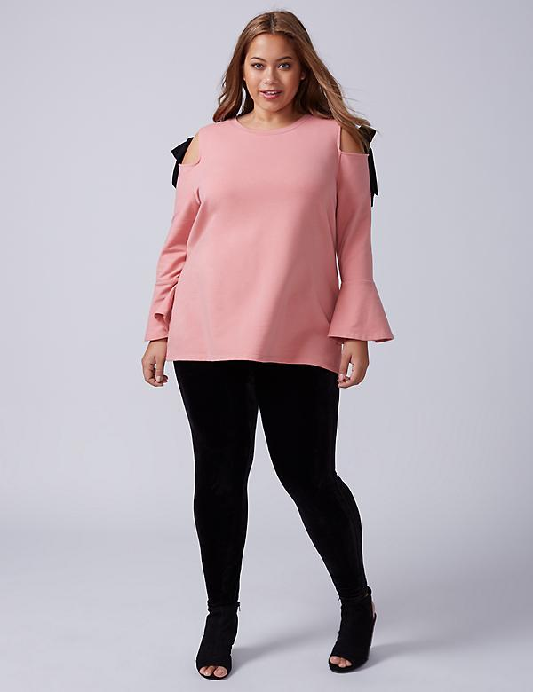 Bell-Sleeve Sweatshirt with Tie Shoulder