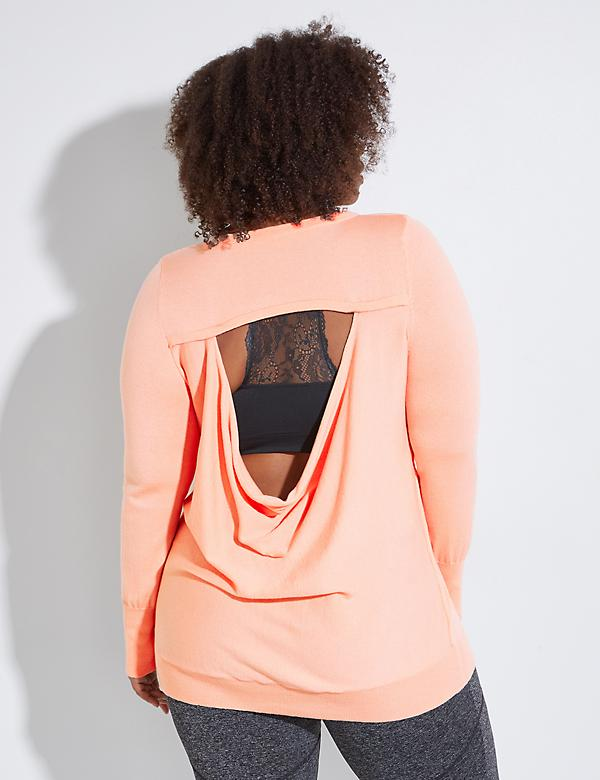 Open Drape-Back Active Sweater