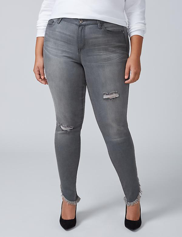 Super Stretch Skinny Jean - Frayed Asymmetrical Hem