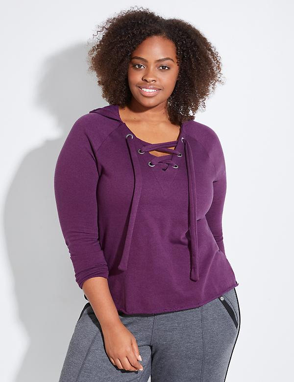 Lace-Up Front Active Sweatshirt