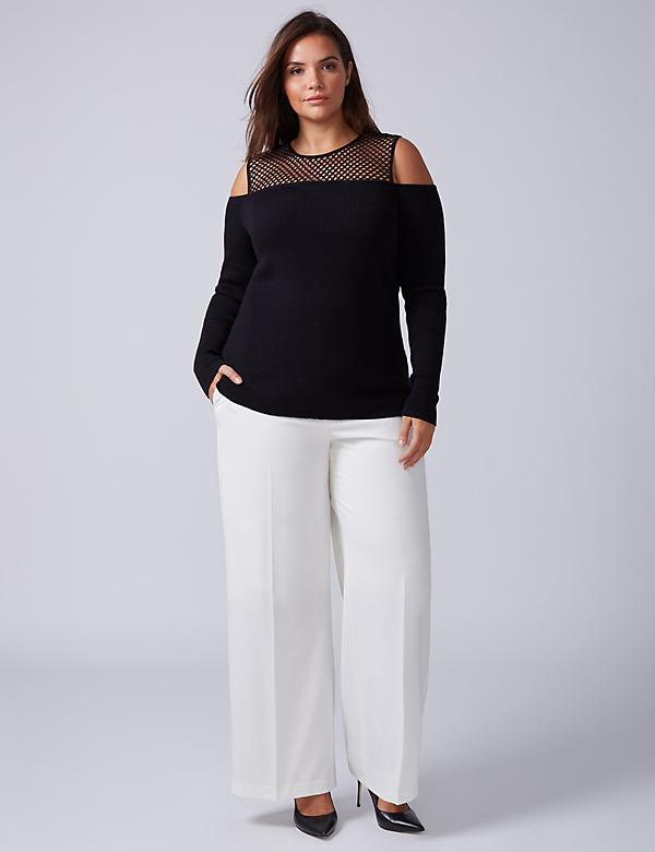 Mesh Yoke Cold-Shoulder Sweater