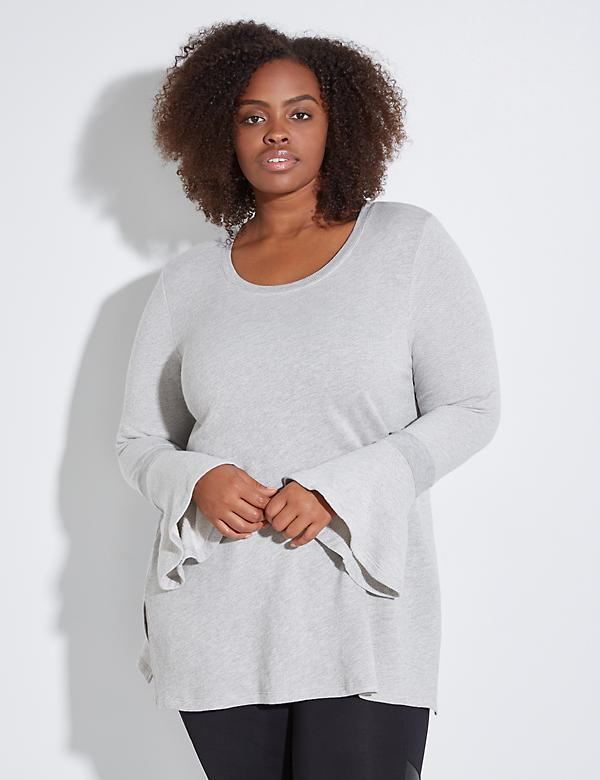 Bell-Sleeve Active Tunic Sweatshirt