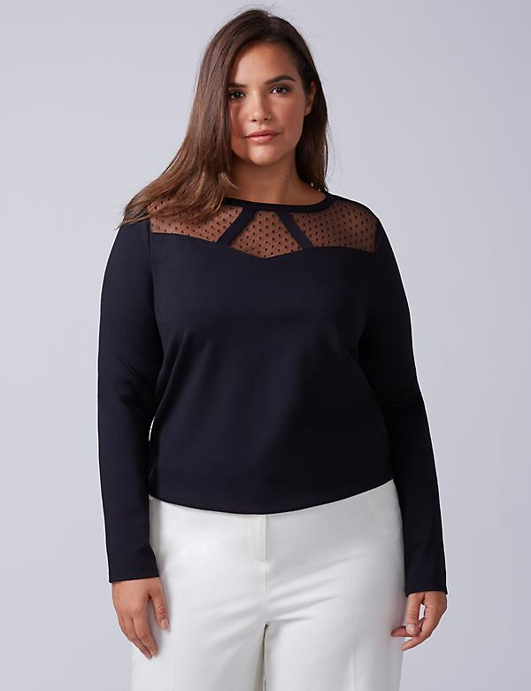 Top with Point d'Esprit Neckline
