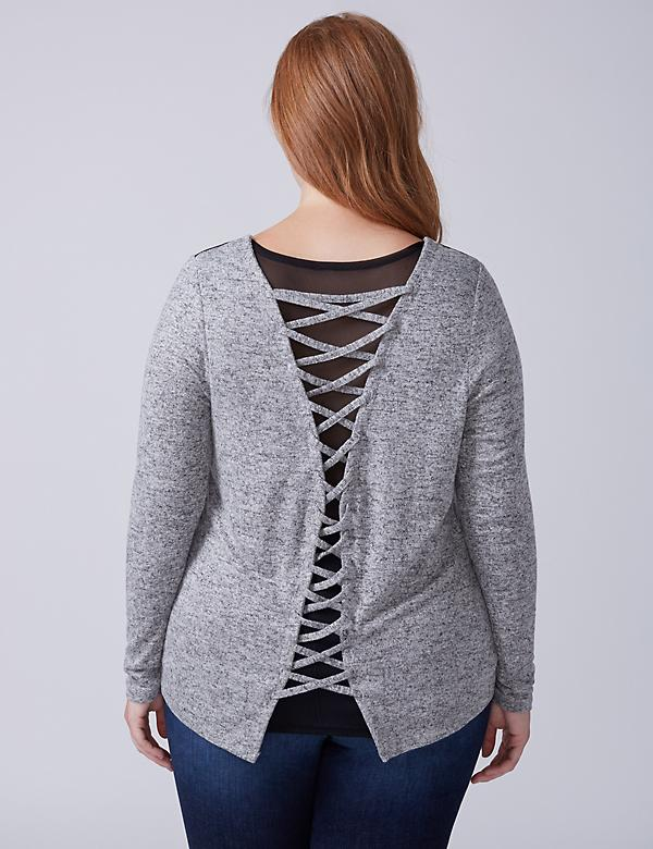 Top with Mesh & Lace-Up Back